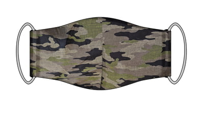 Large Re-usable 3-Layer Face Mask (pack of 2) Green Cammo