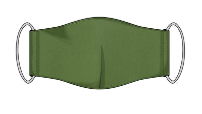 Large Re-usable 3-Layer Face Mask (pack of 2) Dark Green