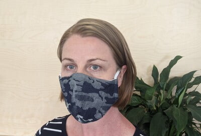 Large Re-usable 3-Layer Face Mask (pack of 1) Grey Cammo