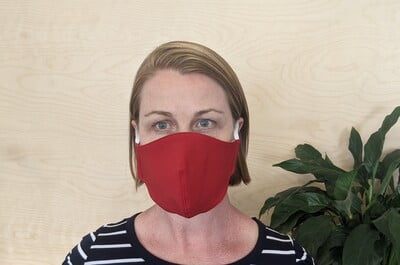 Large Re-usable 3-Layer Face Mask (pack of 1) Bright Red