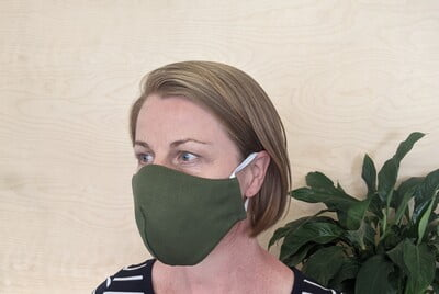 Large Re-usable 3-Layer Face Mask (pack of 1) Dark Green