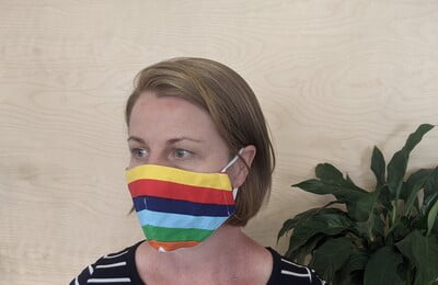 Large Re-usable 3-Layer Face Mask (pack of 1) Rainbow